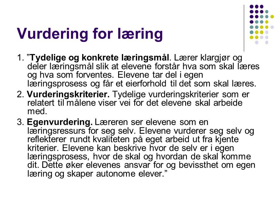 Vurdering for læring 4. Kameratvurdering.