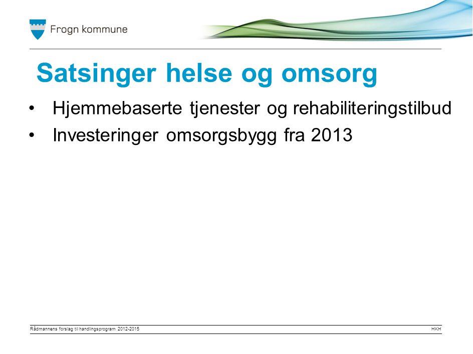 Rådmannens forslag til handlingsprogram 2012-2015HKH Gradvis avvikle langtidsplasser på Grande (7) Satsing på hjemmebaserte tjenester Samhandlingsreformen Omprioriteringer helse/omsorg
