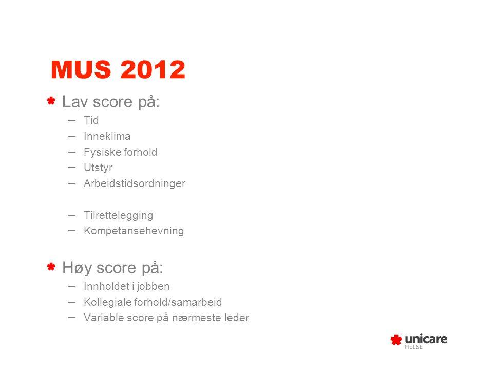 MUS 2012 Lav score på: – Tid – Inneklima – Fysiske forhold – Utstyr – Arbeidstidsordninger – Tilrettelegging – Kompetansehevning Høy score på: – Innho