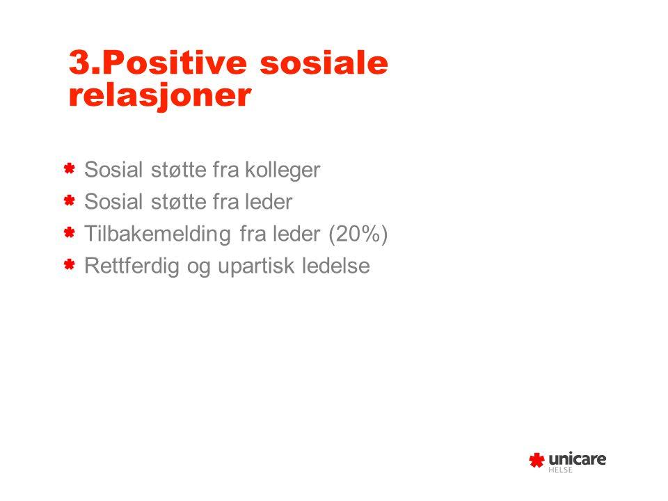 3.Positive sosiale relasjoner Sosial støtte fra kolleger Sosial støtte fra leder Tilbakemelding fra leder (20%) Rettferdig og upartisk ledelse