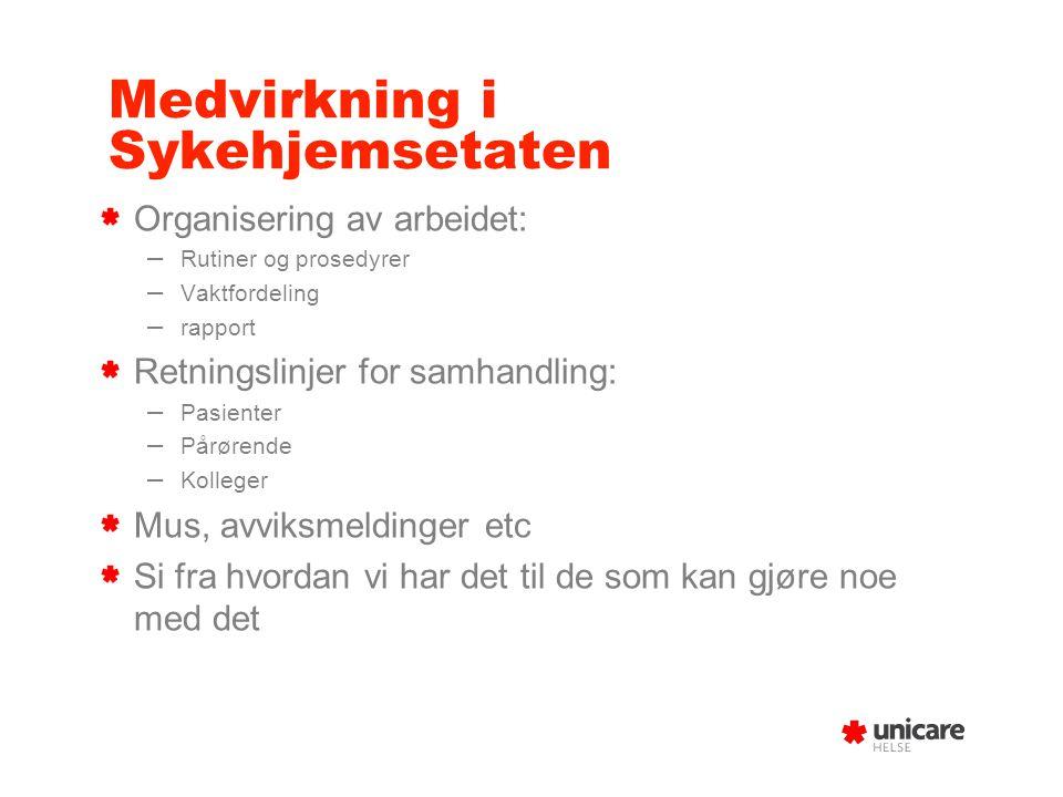 Medvirkning i Sykehjemsetaten Organisering av arbeidet: – Rutiner og prosedyrer – Vaktfordeling – rapport Retningslinjer for samhandling: – Pasienter