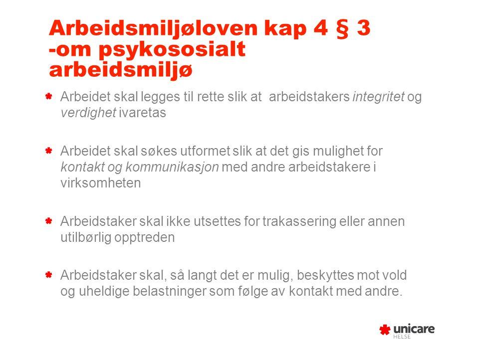Arbeidsmiljøloven kap 4 § 3 -om psykososialt arbeidsmiljø Arbeidet skal legges til rette slik at arbeidstakers integritet og verdighet ivaretas Arbeid