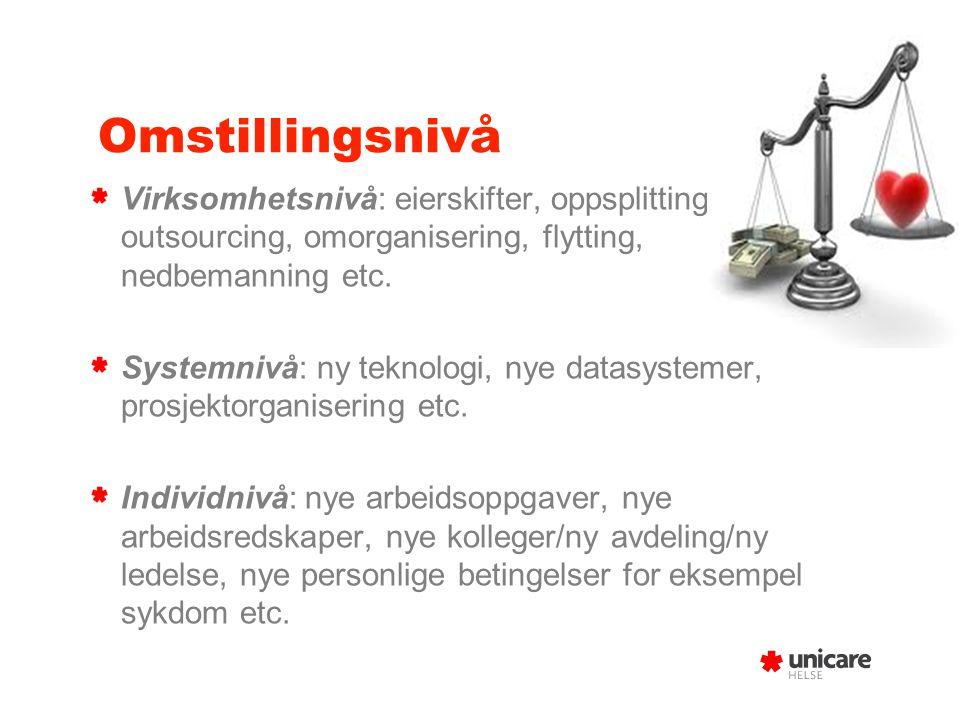 Omstillingsnivå Virksomhetsnivå: eierskifter, oppsplitting, outsourcing, omorganisering, flytting, nedbemanning etc. Systemnivå: ny teknologi, nye dat