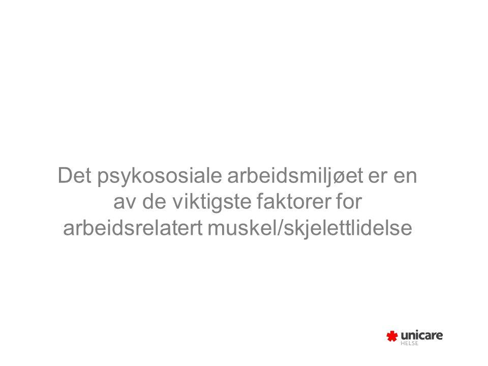 Det psykososiale arbeidsmiljøet er en av de viktigste faktorer for arbeidsrelatert muskel/skjelettlidelse
