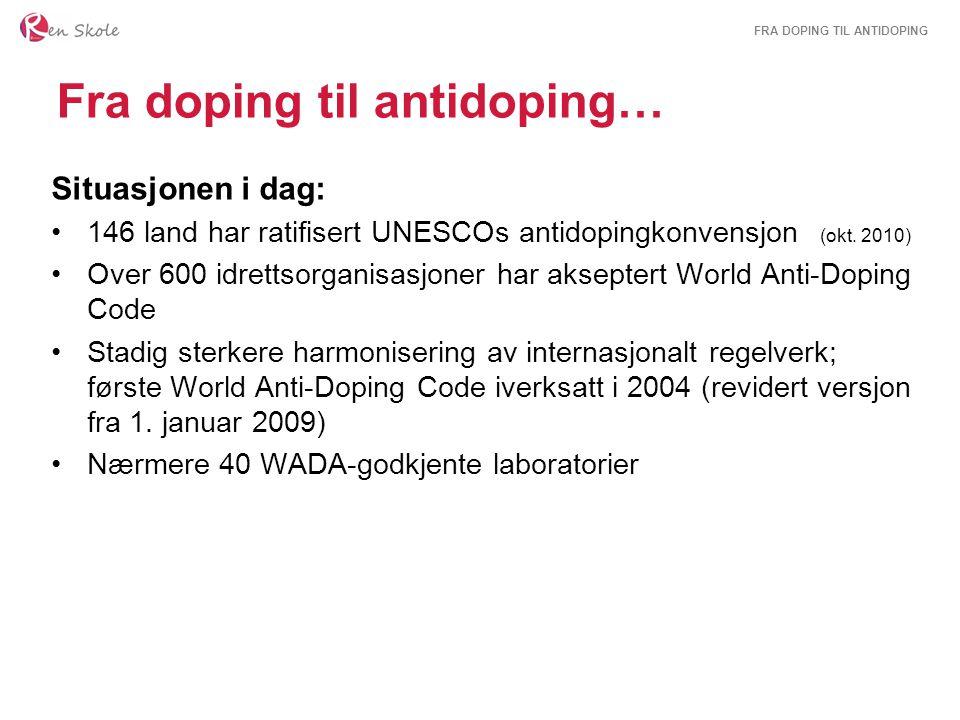 FRA DOPING TIL ANTIDOPING Fra doping til antidoping… Situasjonen i dag: 146 land har ratifisert UNESCOs antidopingkonvensjon (okt. 2010) Over 600 idre