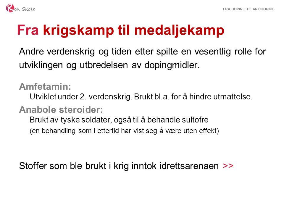 FRA DOPING TIL ANTIDOPING Stimulerende midler 1960: Den danske toppsyklisten Knut Enemark Jensen dør i OL etter en blanding av nicotynal, alkohol og amfetamin.