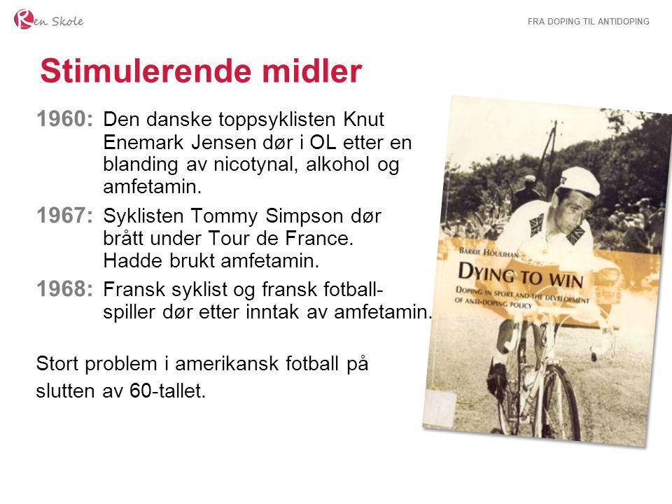 FRA DOPING TIL ANTIDOPING Stimulerende midler 1960: Den danske toppsyklisten Knut Enemark Jensen dør i OL etter en blanding av nicotynal, alkohol og a