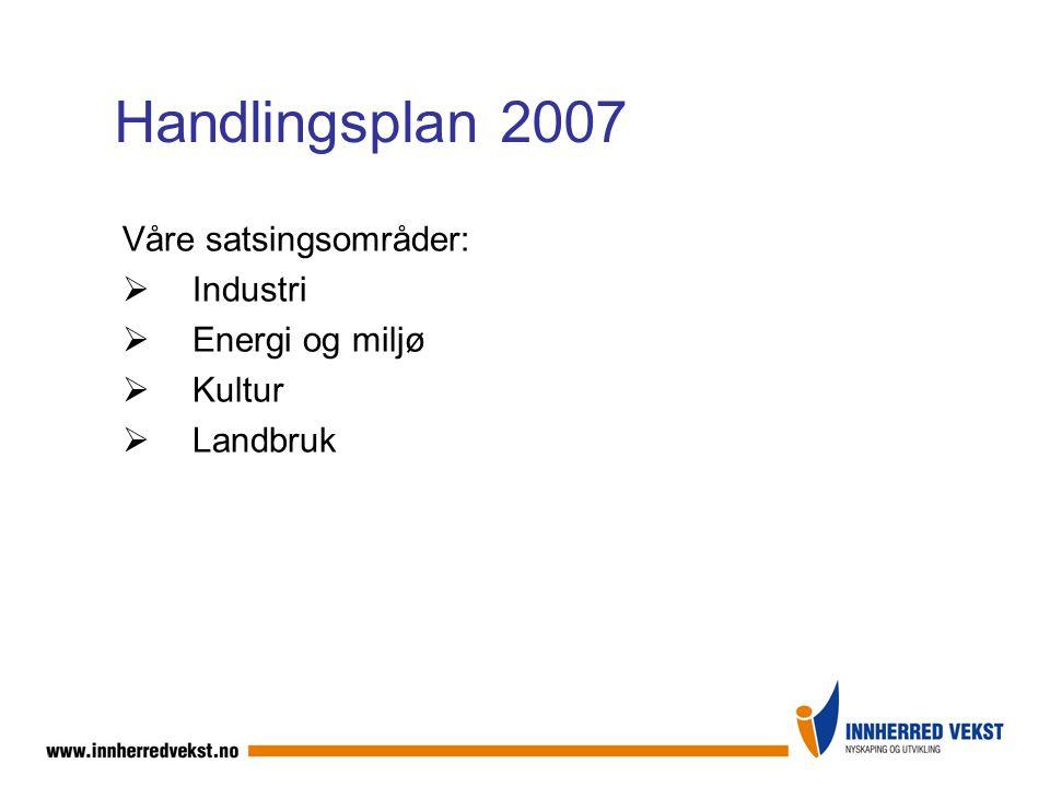Handlingsplan 2007 Våre satsingsområder:  Industri  Energi og miljø  Kultur  Landbruk