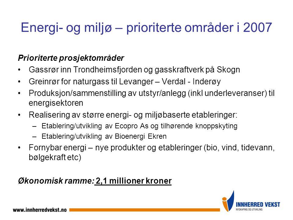 Energi- og miljø – prioriterte områder i 2007 Prioriterte prosjektområder Gassrør inn Trondheimsfjorden og gasskraftverk på Skogn Greinrør for naturgass til Levanger – Verdal - Inderøy Produksjon/sammenstilling av utstyr/anlegg (inkl underleveranser) til energisektoren Realisering av større energi- og miljøbaserte etableringer: –Etablering/utvikling av Ecopro As og tilhørende knoppskyting –Etablering/utvikling av Bioenergi Ekren Fornybar energi – nye produkter og etableringer (bio, vind, tidevann, bølgekraft etc) Økonomisk ramme: 2,1 millioner kroner
