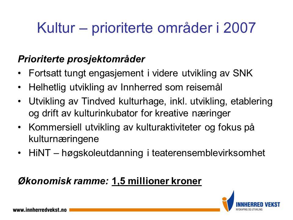 Kultur – prioriterte områder i 2007 Prioriterte prosjektområder Fortsatt tungt engasjement i videre utvikling av SNK Helhetlig utvikling av Innherred som reisemål Utvikling av Tindved kulturhage, inkl.