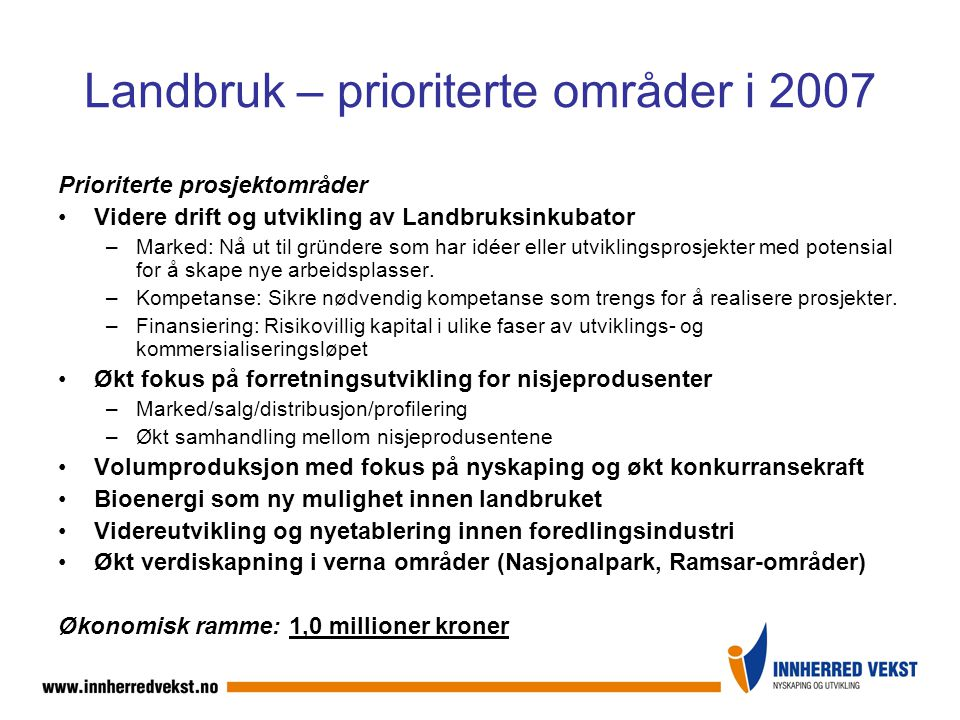 Landbruk – prioriterte områder i 2007 Prioriterte prosjektområder Videre drift og utvikling av Landbruksinkubator –Marked: Nå ut til gründere som har idéer eller utviklingsprosjekter med potensial for å skape nye arbeidsplasser.