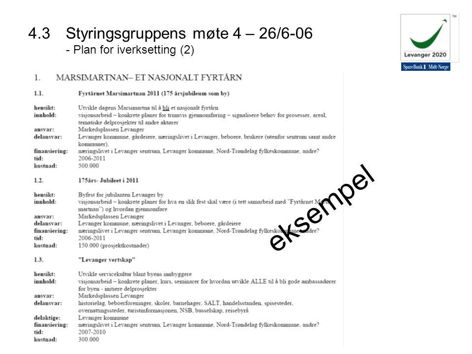 4.3Styringsgruppens møte 4 – 26/6-06 - Plan for iverksetting (2) eksempel