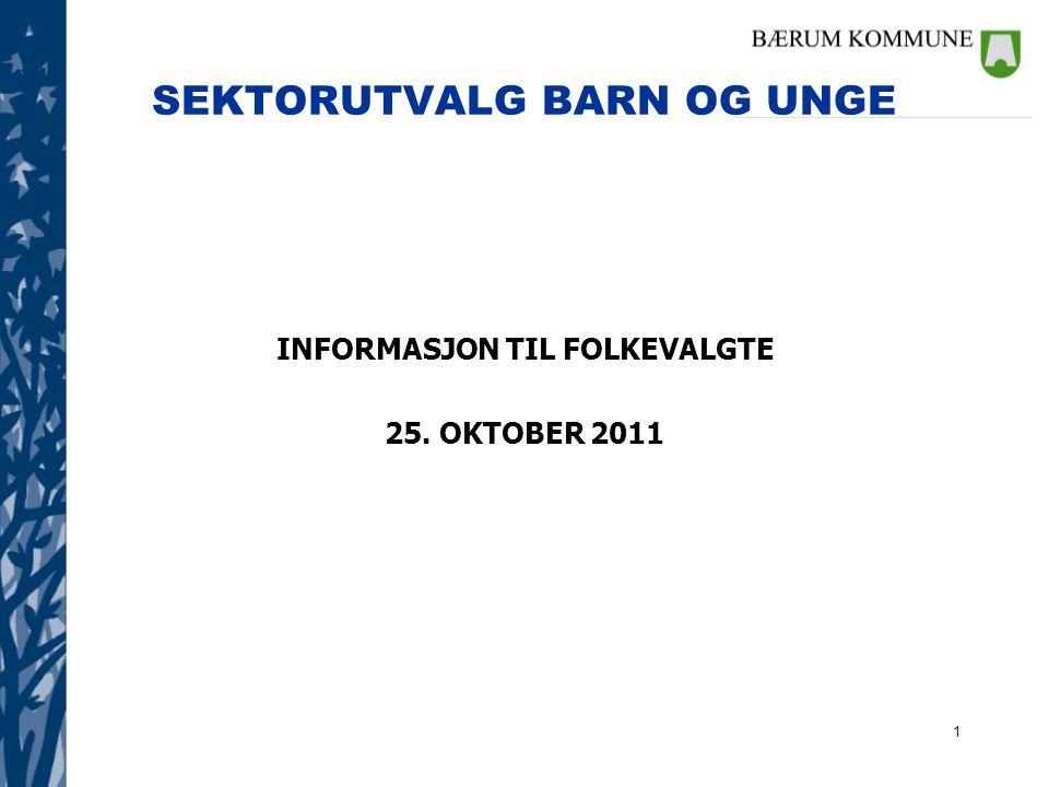 1 SEKTORUTVALG BARN OG UNGE INFORMASJON TIL FOLKEVALGTE 25. OKTOBER 2011