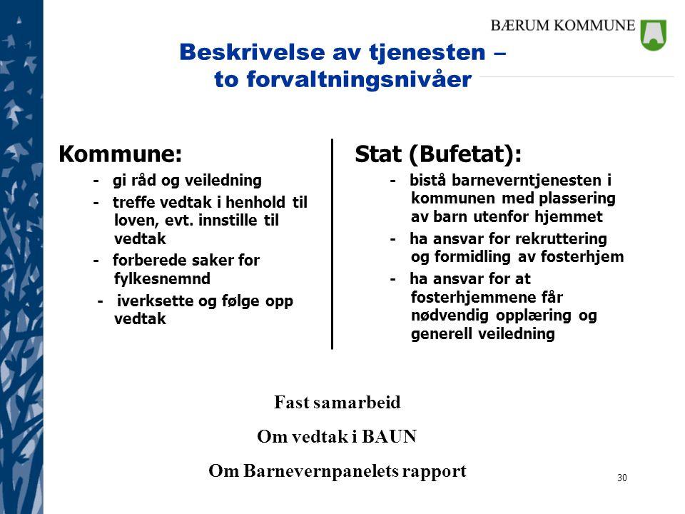 30 Beskrivelse av tjenesten – to forvaltningsnivåer Kommune: - gi råd og veiledning - treffe vedtak i henhold til loven, evt. innstille til vedtak - f