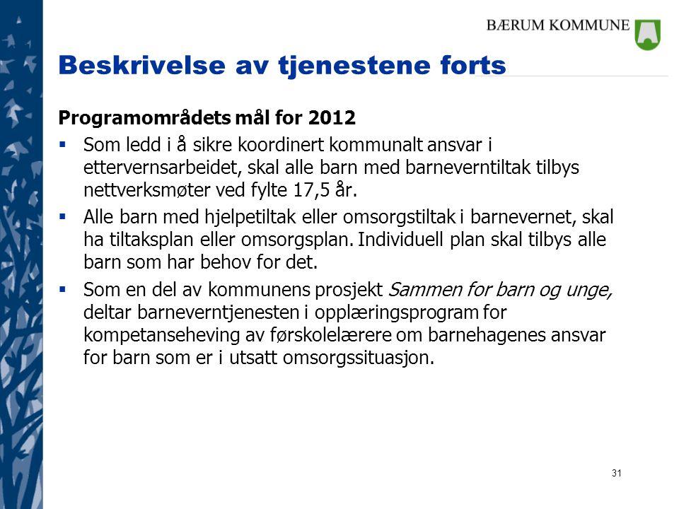 31 Beskrivelse av tjenestene forts Programområdets mål for 2012  Som ledd i å sikre koordinert kommunalt ansvar i ettervernsarbeidet, skal alle barn