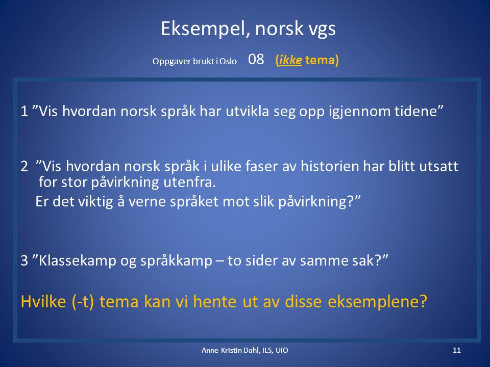 Eksempel, norsk vgs Oppgaver brukt i Oslo 08 (ikke tema) 1 Vis hvordan norsk språk har utvikla seg opp igjennom tidene 2 Vis hvordan norsk språk i ulike faser av historien har blitt utsatt for stor påvirkning utenfra.
