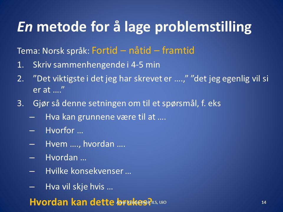 """En metode for å lage problemstilling Tema: Norsk språk: Fortid – nåtid – framtid 1.Skriv sammenhengende i 4-5 min 2.""""Det viktigste i det jeg har skrev"""