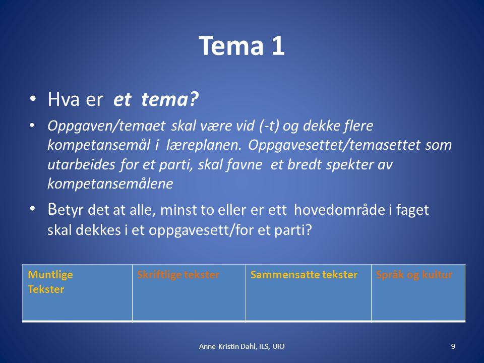 Tema 1 Hva er et tema? Oppgaven/temaet skal være vid (-t) og dekke flere kompetansemål i læreplanen. Oppgavesettet/temasettet som utarbeides for et pa