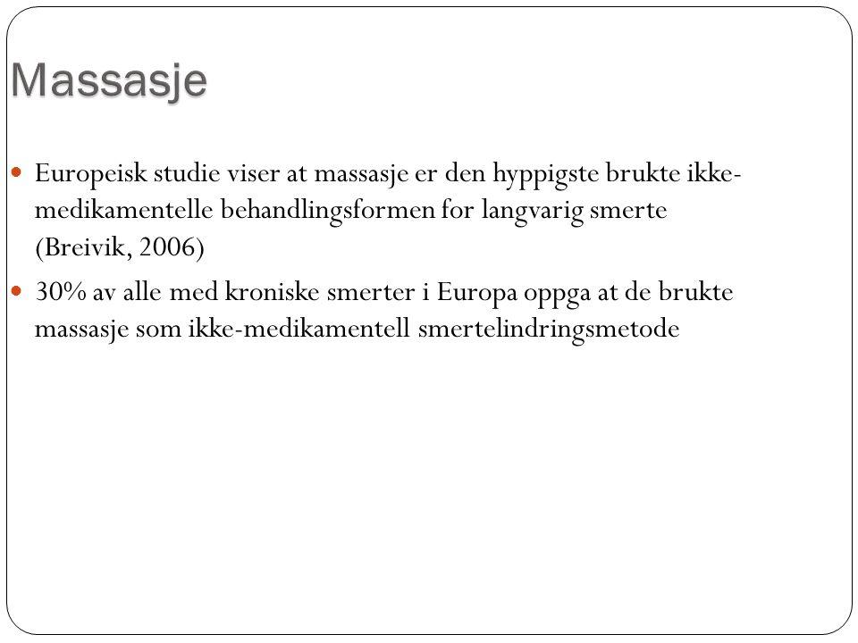 Europeisk studie viser at massasje er den hyppigste brukte ikke- medikamentelle behandlingsformen for langvarig smerte (Breivik, 2006) 30% av alle med