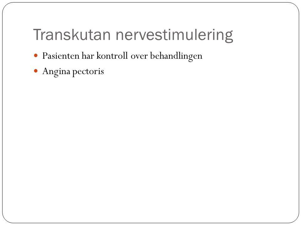Transkutan nervestimulering Pasienten har kontroll over behandlingen Angina pectoris