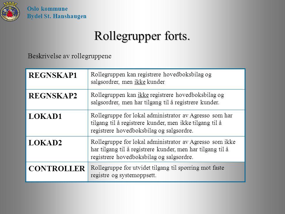 Rollegrupper forts. Beskrivelse av rollegruppene Oslo kommune Bydel St. Hanshaugen REGNSKAP1 Rollegruppen kan registrere hovedboksbilag og salgsordrer