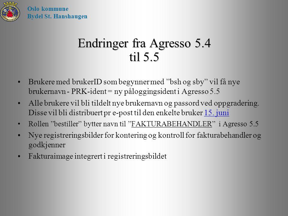 """Endringer fra Agresso 5.4 til 5.5 Brukere med brukerID som begynner med """"bsh og sby"""" vil få nye brukernavn - PRK-ident = ny påloggingsident i Agresso"""