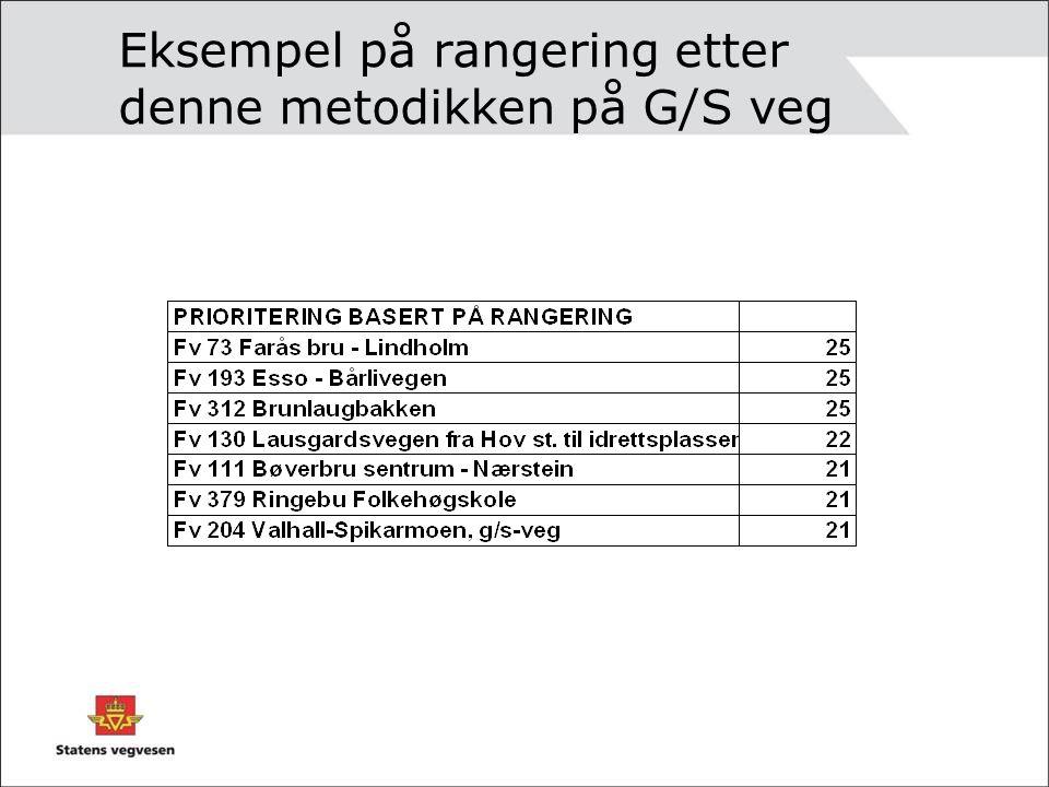 Kriterier for strekningsvise - / utbedringstiltak 1.Trafikkmengde, jf G/S omtalt foran 2.