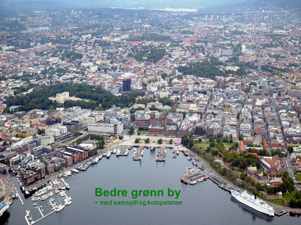 1 Flyfoto av byen Bedre grønn by - med samspill og kompetanse