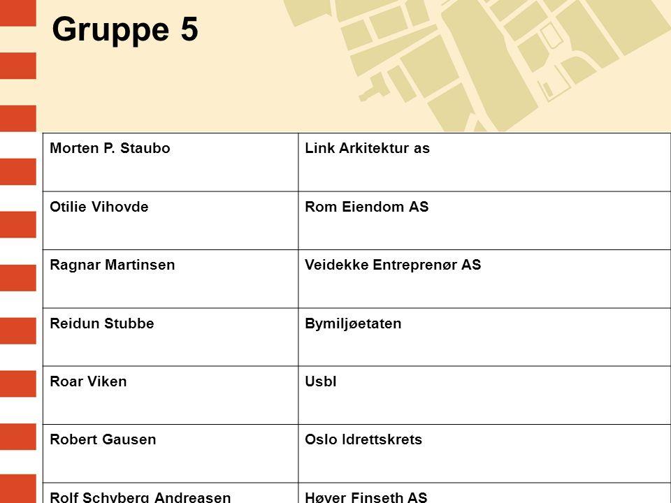 Gruppe 5 Morten P. StauboLink Arkitektur as Otilie VihovdeRom Eiendom AS Ragnar MartinsenVeidekke Entreprenør AS Reidun StubbeBymiljøetaten Roar Viken