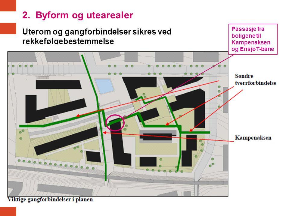 Uterom og gangforbindelser sikres ved rekkefølgebestemmelse Passasje fra boligene til Kampenaksen og EnsjøT-bane 2. Byform og utearealer