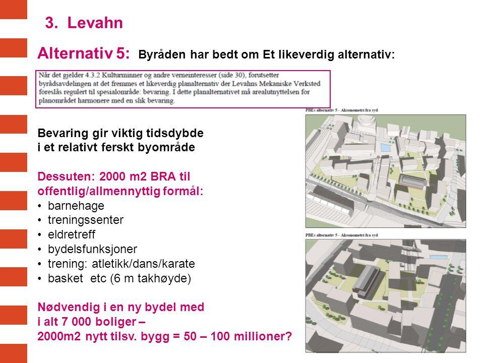 Alternativ 5: Byråden har bedt om Et likeverdig alternativ: Bevaring gir viktig tidsdybde i et relativt ferskt byområde Dessuten: 2000 m2 BRA til offe