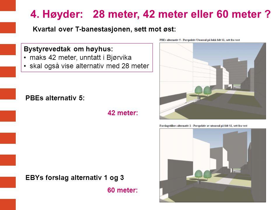4. Høyder: 28 meter, 42 meter eller 60 meter ? 42 meter: 60 meter: Bystyrevedtak om høyhus: maks 42 meter, unntatt i Bjørvika skal også vise alternati