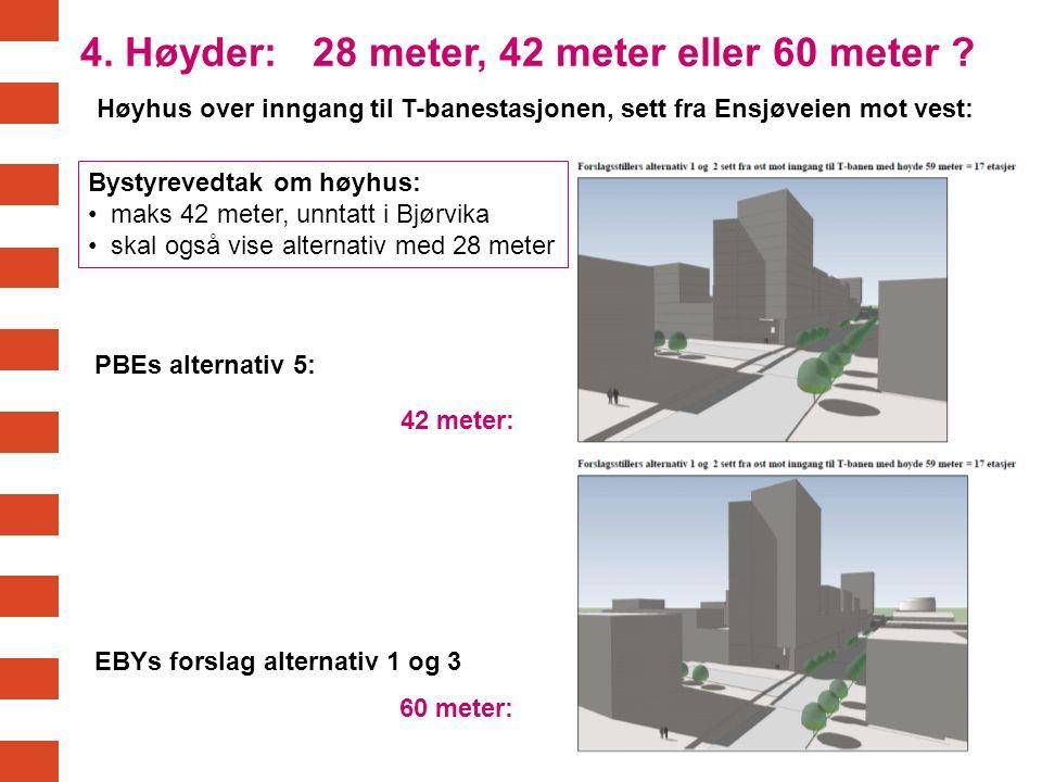 4. Høyder: 28 meter, 42 meter eller 60 meter ? Høyhus over inngang til T-banestasjonen, sett fra Ensjøveien mot vest: 42 meter: 60 meter: PBEs alterna