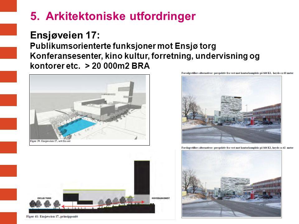 Ensjøveien 17: Publikumsorienterte funksjoner mot Ensjø torg Konferansesenter, kino kultur, forretning, undervisning og kontorer etc. > 20 000m2 BRA 5
