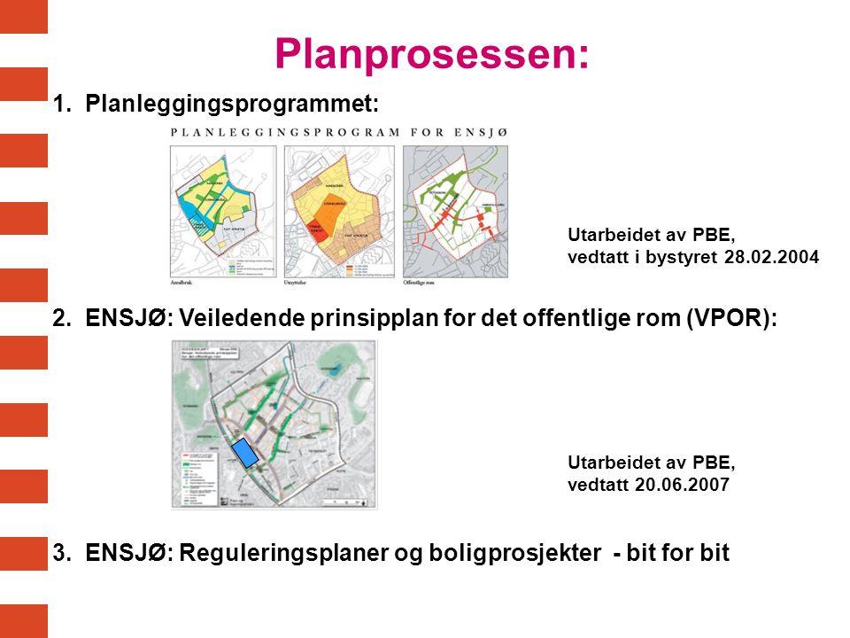Planprosessen: 1. Planleggingsprogrammet: Utarbeidet av PBE, vedtatt i bystyret 28.02.2004 2. ENSJØ: Veiledende prinsipplan for det offentlige rom (VP
