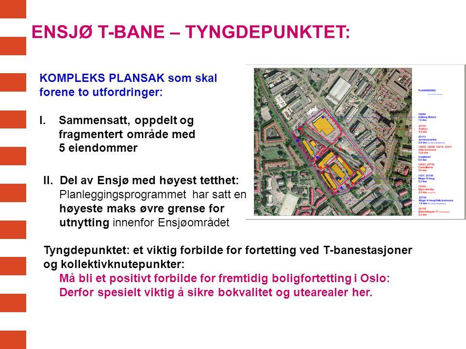 ENSJØ T-BANE – TYNGDEPUNKTET: KOMPLEKS PLANSAK som skal forene to utfordringer: I. Sammensatt, oppdelt og fragmentert område med 5 eiendommer II. Del