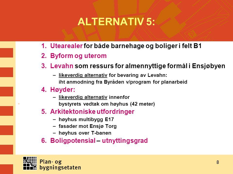 8 ALTERNATIV 5: 1. Utearealer for både barnehage og boliger i felt B1 2. Byform og uterom 3. Levahn som ressurs for almennyttige formål i Ensjøbyen –l