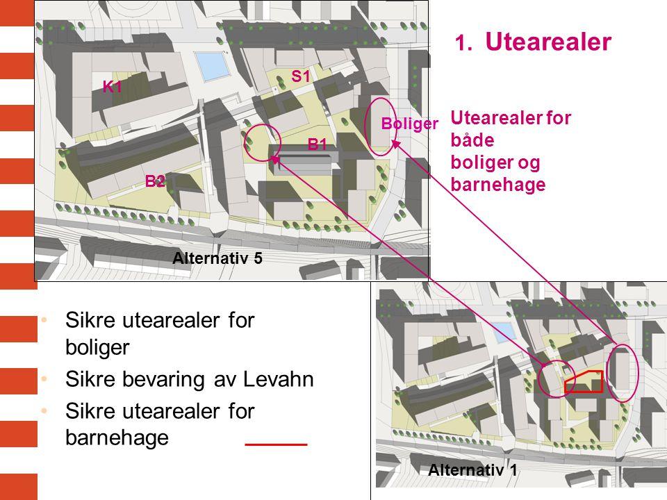 Sikre utearealer for boliger Sikre bevaring av Levahn Sikre utearealer for barnehage K1 S1 B1 B2 Boliger Utearealer for både boliger og barnehage Alternativ 5 Alternativ 1 1.