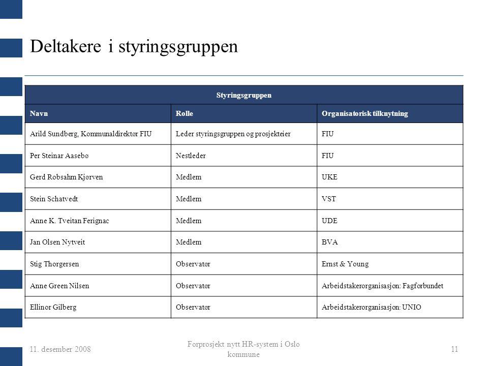 11. desember 2008 Forprosjekt nytt HR-system i Oslo kommune 11 Deltakere i styringsgruppen Styringsgruppen NavnRolleOrganisatorisk tilknytning Arild S