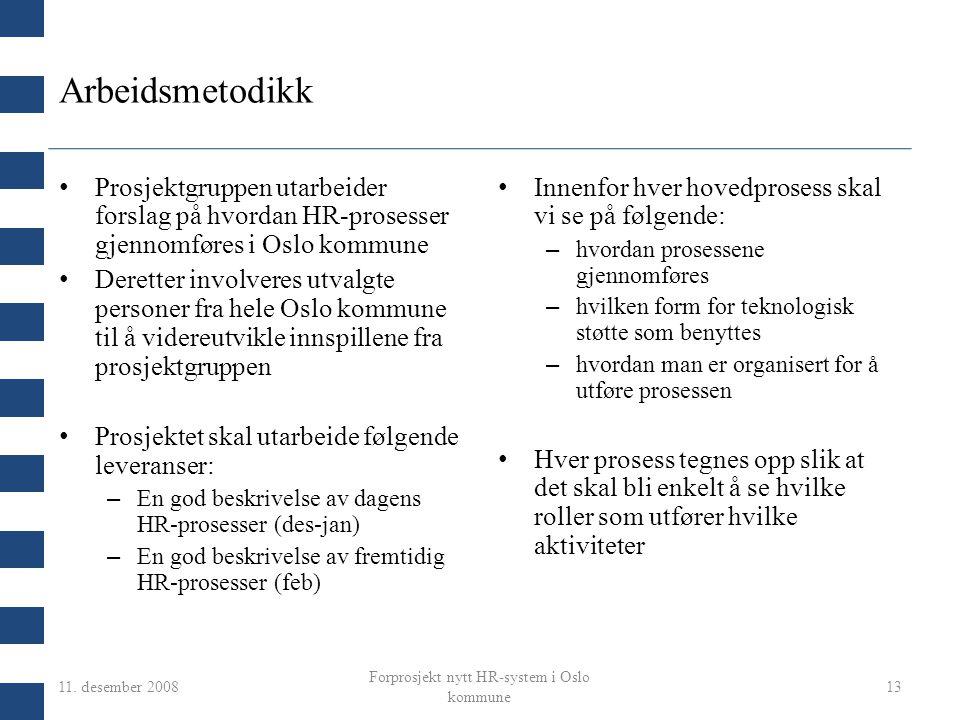 11. desember 2008 Forprosjekt nytt HR-system i Oslo kommune 13 Arbeidsmetodikk Prosjektgruppen utarbeider forslag på hvordan HR-prosesser gjennomføres