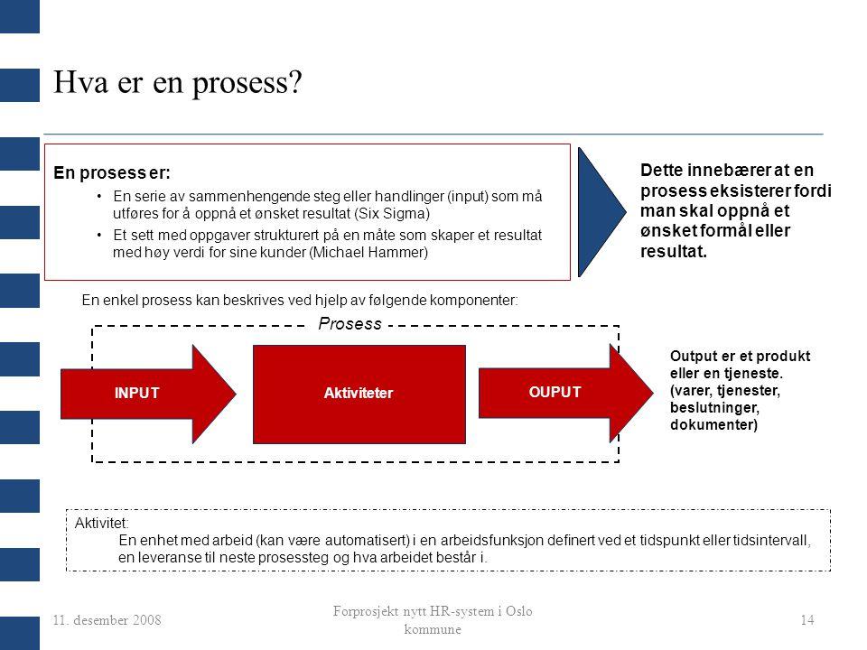 11. desember 2008 Forprosjekt nytt HR-system i Oslo kommune 14 INPUT OUPUT Aktiviteter En prosess er: En serie av sammenhengende steg eller handlinger