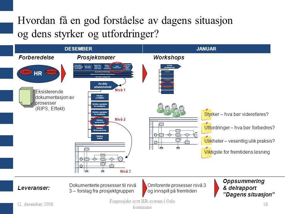11. desember 2008 Forprosjekt nytt HR-system i Oslo kommune 16 Hvordan få en god forståelse av dagens situasjon og dens styrker og utfordringer? HR Lø