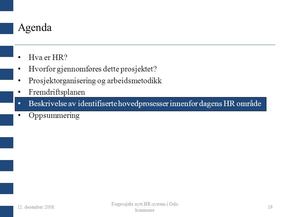 11. desember 2008 Forprosjekt nytt HR-system i Oslo kommune 19 Agenda Hva er HR? Hvorfor gjennomføres dette prosjektet? Prosjektorganisering og arbeid