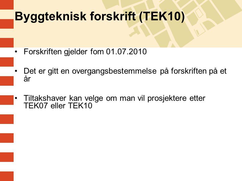 Byggteknisk forskrift (TEK10) Forskriften gjelder fom 01.07.2010 Det er gitt en overgangsbestemmelse på forskriften på et år Tiltakshaver kan velge om