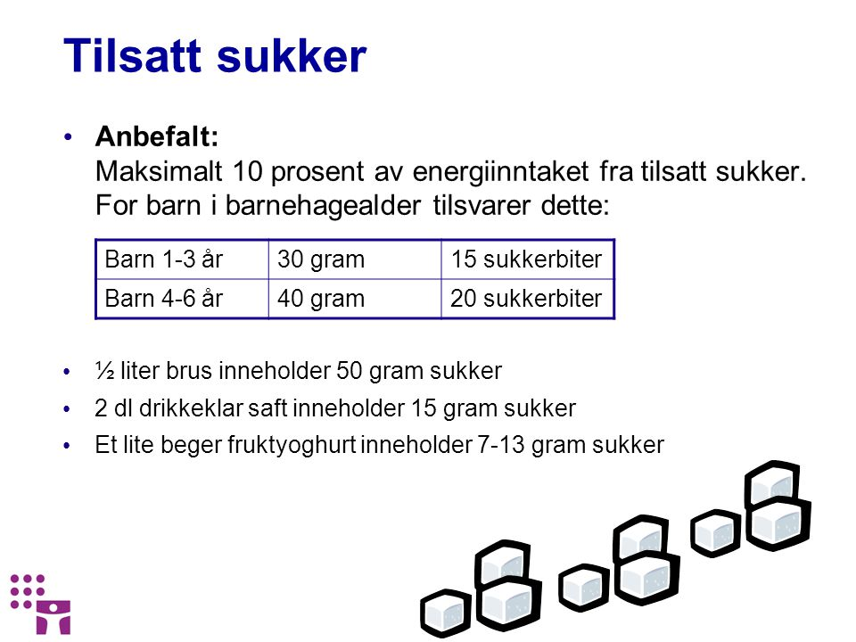 Tilsatt sukker Anbefalt: Maksimalt 10 prosent av energiinntaket fra tilsatt sukker. For barn i barnehagealder tilsvarer dette: ½ liter brus inneholder