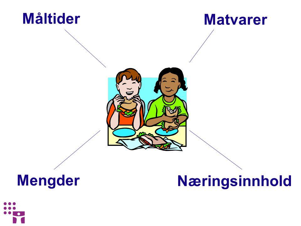 Måltider Matvarer Mengder Næringsinnhold
