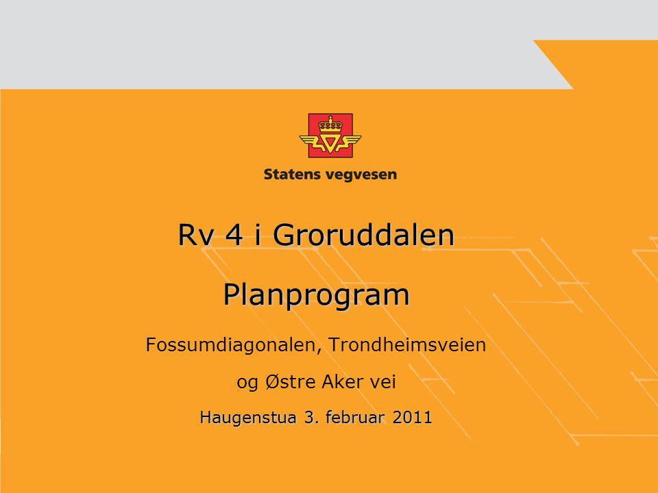 Rv 4 i Groruddalen Planprogram Fossumdiagonalen, Trondheimsveien og Østre Aker vei Haugenstua 3. februar 2011