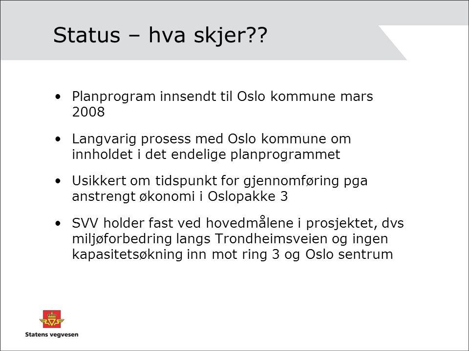 Status – hva skjer?? Planprogram innsendt til Oslo kommune mars 2008 Langvarig prosess med Oslo kommune om innholdet i det endelige planprogrammet Usi