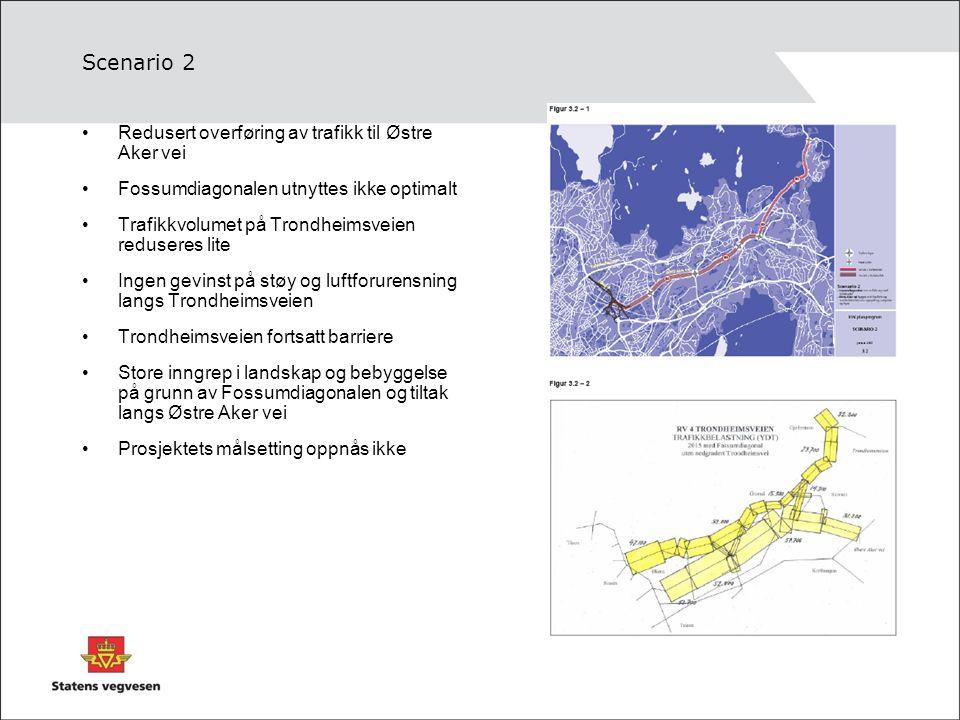 Scenario 3 Sterk reduksjon i trafkken på Trondheimsveien Overføring av trafikk bl.a til Østre Aker vei belaster lokale veger sterkt Økt ulykkesrisiko på lokale veger God effekt på støy og luftforurensning langs Trondheimsveien Kan gi økt støy og luftforurensning på lokale veger Gir minst inngrep på landskap og bebyggelse Muliggjør tettstedsutvikling langs Trondheimsveien Prosjektets målsetting oppnås delvis, men med betydelige ulemper
