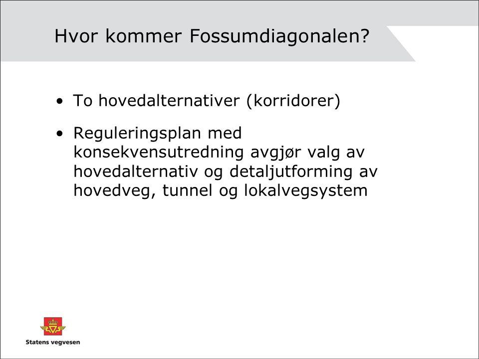 Hvor kommer Fossumdiagonalen? To hovedalternativer (korridorer) Reguleringsplan med konsekvensutredning avgjør valg av hovedalternativ og detaljutform